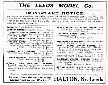 Leeds 1916 April Advertisement