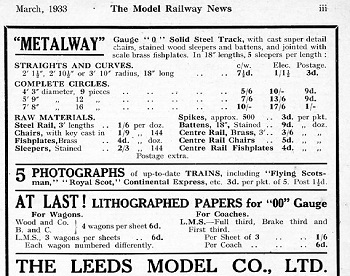 Leeds 1933 March Advertisement